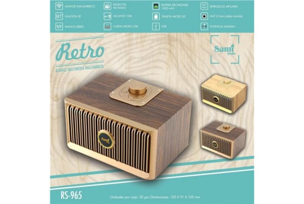 ALTAVOZ BLUETOOTH - MADERA - RADIO FM