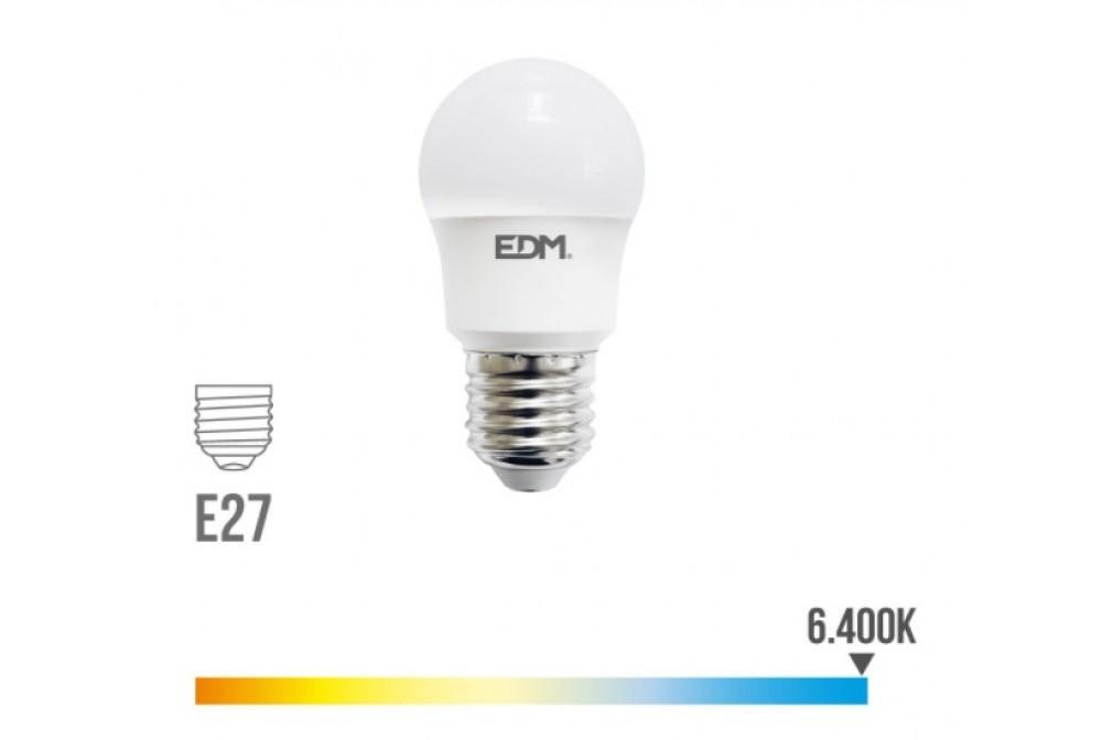 BOMBILLA LED ESFERICA E27 8.5W 6400K