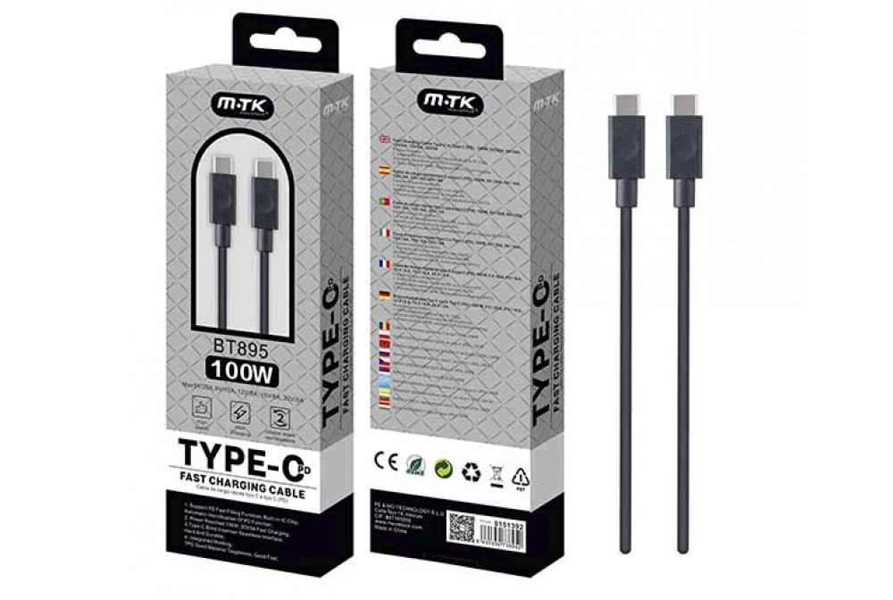 CABLE TIPO C-C 1M USB-PD 100W BT895
