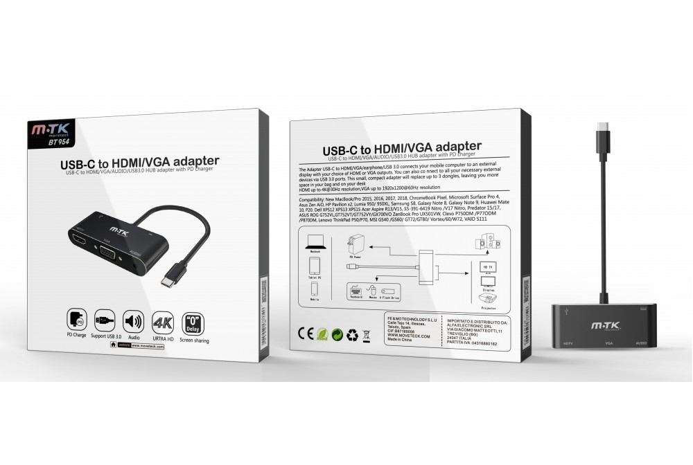 ADAPTADOR USB-C A HDMI/VGA 6 EN 1