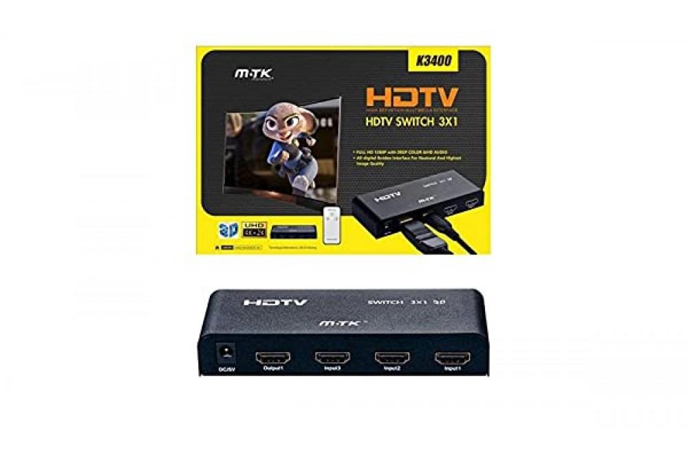 SWITCH HDMI 3 PUERTOS CON MANDO K3400