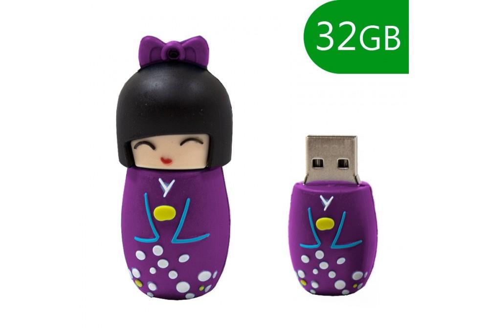 PEN DRIVE USB X32 GB SILICONA MUÑECA VIOLETA