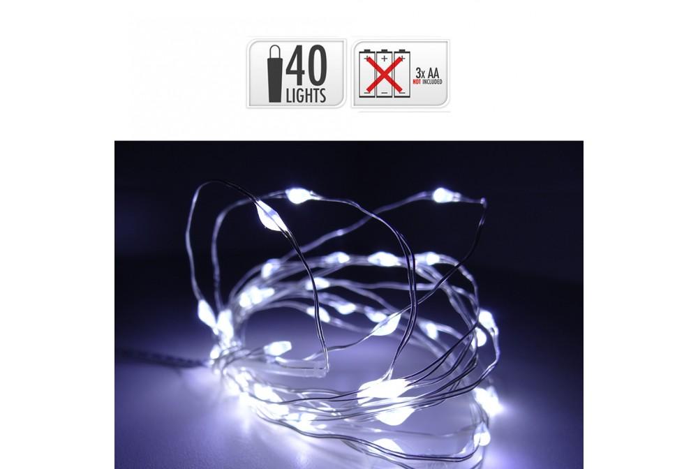 GUIRNALDA A PILAS CABLE ALAMBRE PLATEADO 40 LEDS B