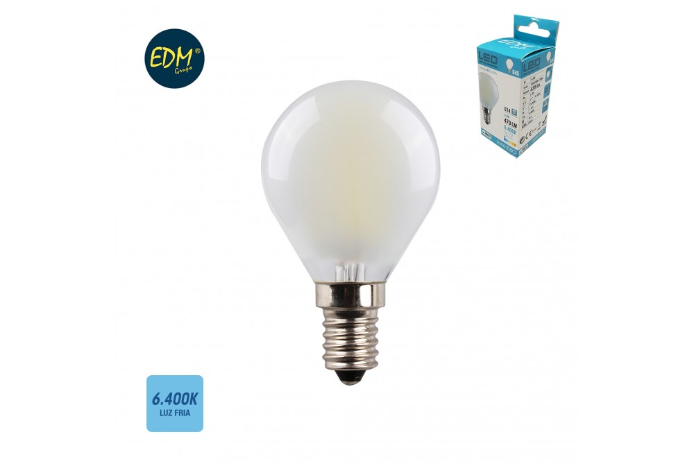 BOMBILLA LED ESFERICA MATE E14 4,5W 6400K